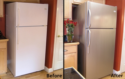 fridge makeover with paint