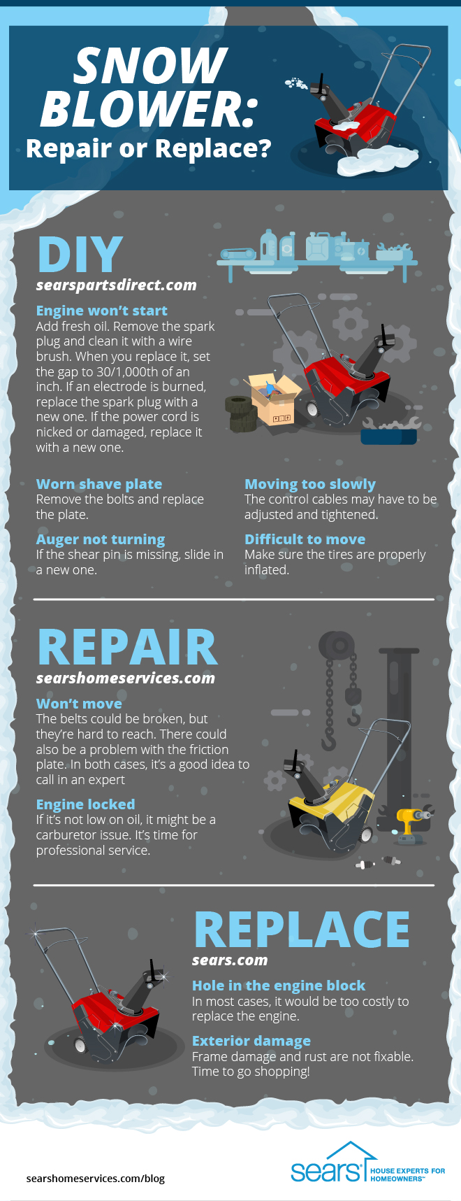repair or replace your snow blower