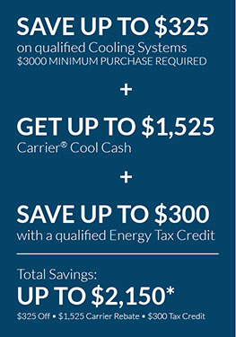 save up to $2,150 with rebates and tax credits on new cooling systems