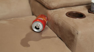 Spilled soda on microfiber couch