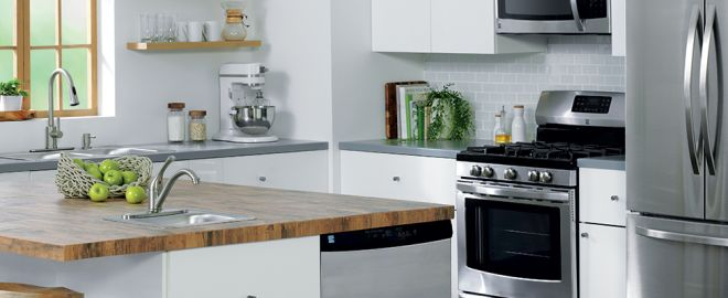 White and green kitchen with Kenmore appliances