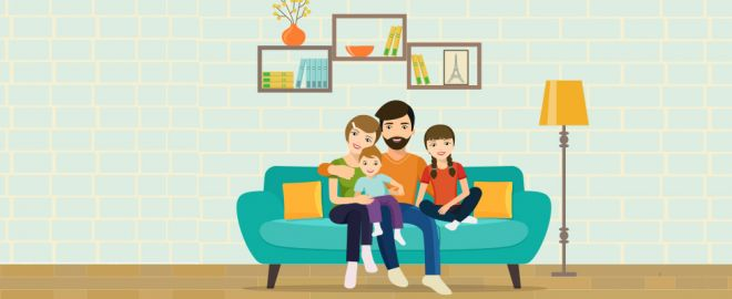 Illustration of mom, dad, daughter and son sitting on blue couch in their family room