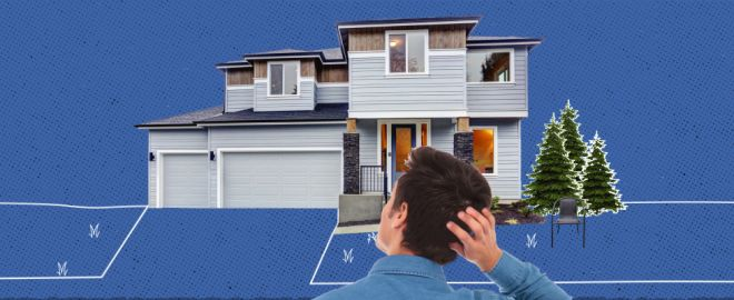 Man scratches the back of his head in front of his home