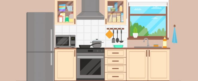 Illustration of cute kitchen with stainless steel appliances and tan cabinets