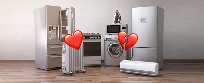 Home appliances with a heart and a broken heart