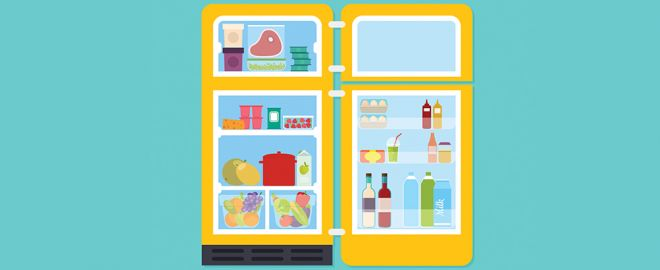 Illustration of yellow fridge and freezer with doors open and filled with food
