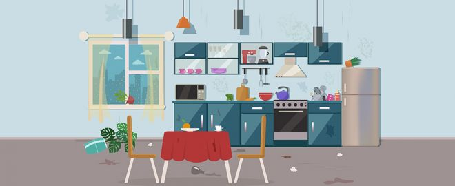 Illustration of a dirty kitchen