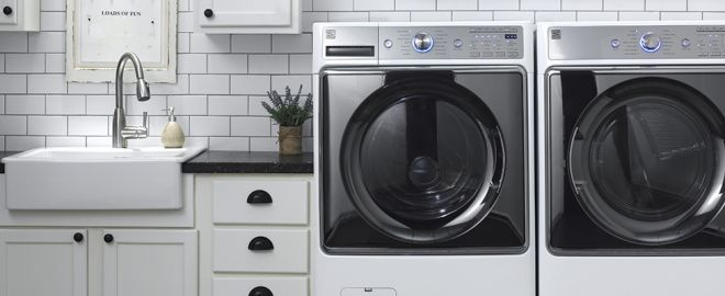 White Kenmore Front Load Washer and Dryer