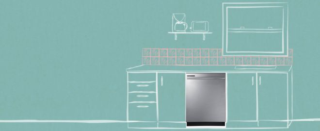 Illustration of kitchen with stainless steel dishwasher