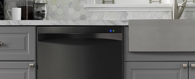 black built-in dishwasher