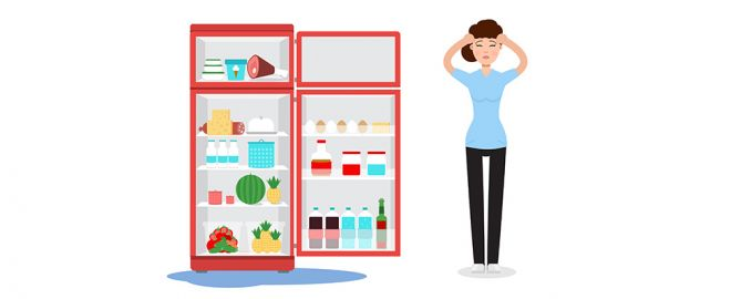 Illustration of woman who's upset her fridge is leaking