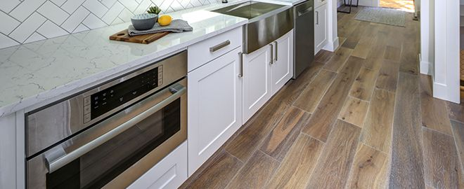 Kitchen with engineered wood floors