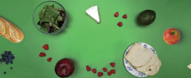 Bread, berries, lettuce, cheese, apples and avocado