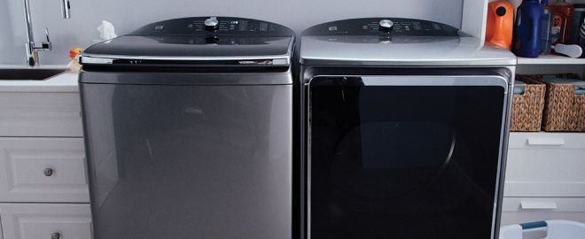 top load washer with dryer in laundry room