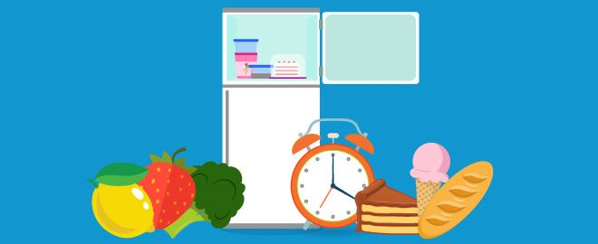 Illustration of freezer open with clock and various food items