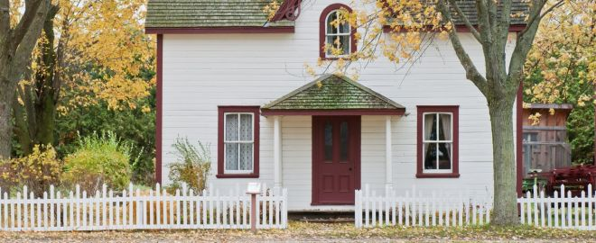 Charming old house with white fence