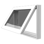 Awning Window - Also known as a casement window, offers ventilation and versatility. The hinged design allows the window to open with a crank either outward to the left or right or open up away from the home.